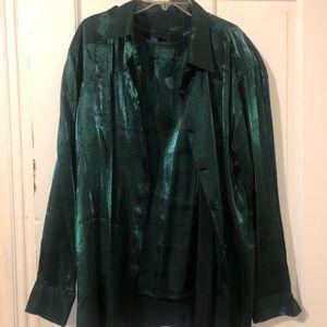 Sheer Evergreen Blouse Set